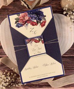 Ela Davetiye 52530, Lacivert Renkli, Çiçekli, İpli, Sayın Kartlı Davetiye